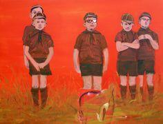 "Saatchi Online Artist: Karin Bos; Oil, Painting ""Boyscouts"""