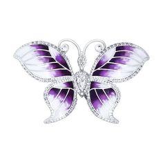 Брошь - бабочка с фиолетовой эмалью