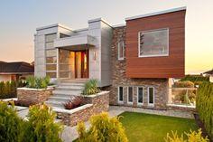 Красивые фасады домов - фото дома с каменной отделкой
