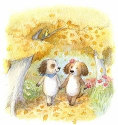 Doggy Walk by Petra Brown Petra, Brown Art, Animal Cards, Children's Book Illustration, Animal Drawings, Illustrations Posters, Cute Art, Illustrators, Cute Pictures