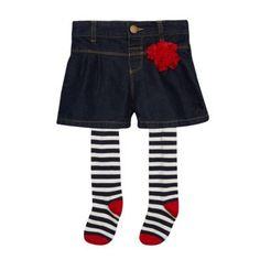 J by Jasper Conran Designer girl's blue denim culottes and tights set- at Debenhams.com