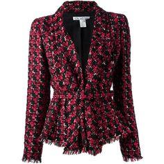 OSCAR DE LA RENTA checked boucle jacket ($2,665) ❤ liked on Polyvore featuring outerwear, jackets, coats, blazers, coats & jackets, checkered jacket, black long sleeve jacket, long sleeve jacket, boucle jacket and oscar de la renta