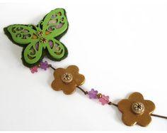 SALE Butterfly Brooch Green Felt & Wooden by LunaDiArgento
