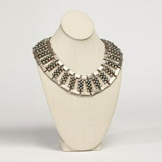 C.1930-40 Mexican silver and turquoise Fred Davis wide collar necklace