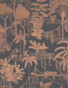 Jungle Dream Glint Jungle Dream Designer Wallpaper by Aimée Wilder. Made in the USA. Vinyl Wallpaper, Room Wallpaper, Wallpaper Powder Rooms, Kitchen Wallpaper, Jungle Pattern, Benjamin Moore Paint, Design Repeats, Motif Floral, Wallpapers