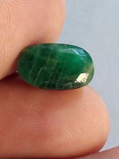 3.25 Cts Natural Emerald Gemstone Brazilian Oval Shape Ring Size 12X8X5 MM #Unbranded