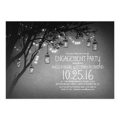 String Lights Mason Jars Vintage Engagement Party Invitation. Schnur EinladungskartenVerlobungsfeier ...
