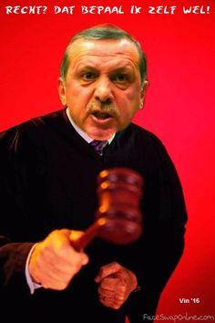 ERDOGAN Dictator Erdogan ontslaat even bijna alle 711 rechters van het land. (http://nos.nl/artikel/2114746-gros-turkse-hoge-rechters-krijgt-ontslag.html) En dus maak ik even het zoveelste spotprentje op deze tiran.  Zolang deze demon aan de macht is -  niet te geloven dat zoveel kiezers in Turkije hem steunen! -, kan ik wel aan de gang blijven! (tag: satire - parodie, Erdogan)