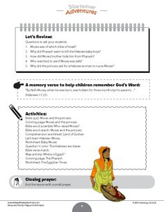 Moses and the Ten Plagues Activity Book: Kids Ages – Bible Pathway Adventures Comprehension Activities, Bible Activities, Teacher Worksheets, Worksheets For Kids, Passover Story, Bible Quiz, Bible Stories, Reading Skills, Creative Writing