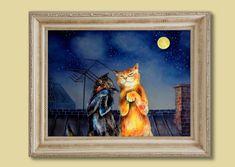 8x10in А4A3  medium large PRINT Serenade  cat duet by VenusSapiens