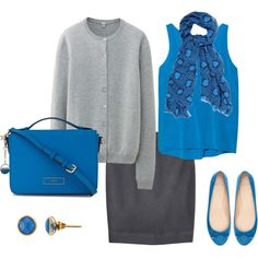 """Azure Blue & Grey for Office"" by mobjackbay on Polyvore"