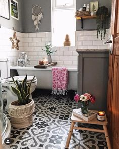 Our bathroom renovation, metro tiles, patterned floor tiles, Bad Inspiration, Bathroom Inspiration, Bathroom Renovations, Home Remodeling, Remodel Bathroom, Architecture Renovation, Bathroom Colors, Metro Tiles Bathroom, Metro Tiles Kitchen