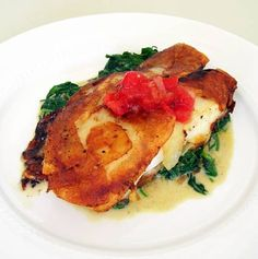 Potato Crusted Halibut with Sautéed Spinach.