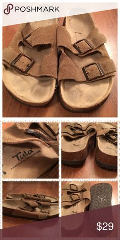 Birkenstock Sandals Good used condition Birkenstocks with double buckle slip on design. Small mark on one of the straps on the right shoe.  (4) Birkenstock Shoes Mules & Clogs