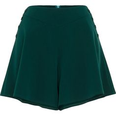 1940s Style Shorts Womens Voodoo Vixen MIRA Flare Shorts Green $42.99 AT vintagedancer.com