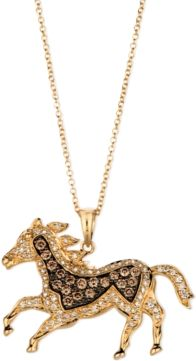 A stunning equine pendant, brought to you by Le Vian. Crafted from 14k gold and encrusted with both round-cut chocolate diamonds (1/3 ct. t.w.) and round-cut white diamonds (1/3 ct. t.w.).