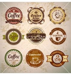 Set of vintage decorative coffee labels vector by annbozhko on VectorStock®