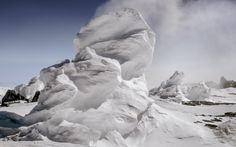 Ice towers formed by steam vents on the slopes of Mount Erebus, Antarctica.
