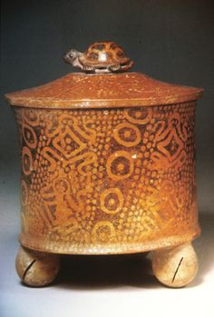 Maya Polychrome Lidded Jar, with Frogs and Turtles