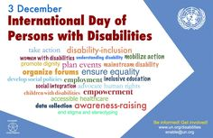 International Day of Persons with Disabilities is on December About Programs, activities on IDPWD. Theme - International Day of Persons with Disabilities Disability Day, Disability Awareness, List Of Important Days, Important Dates, Friedreich's Ataxia, Social Integration, Inclusive Education, United Nations General Assembly, Socialism