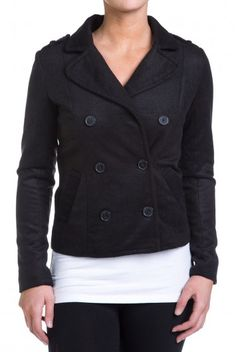 Type 4 Pleasant Peacoat in Black - $34.97 Button yourself against winter in this warm and stylish peacoat. The classic black is a simple  neutral that will warm you up when temperatures drop. The double breasted front and easy side pockets will keep you comfortable when you're on a hay ride and Jack Frost is nipping at your nose.