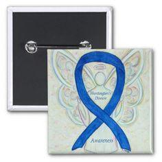 Huntington's Disease Awareness Ribbon Blue Guardian Angel Pin