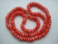 """SUPERB 30"""" HEAVY String Knotted Vintage CORAL BEADS long necklace ART DECO 126g"""