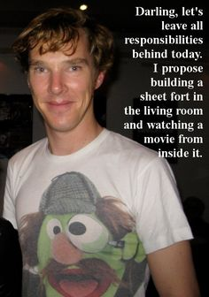 The fact that he's wearing a muppet Sherlock shirt makes this picture 100x better.  :)