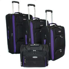 Bell + Howell Purple Quick Access 4-piece Expandable Luggage Set $192 Value!