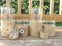 Set of 6 Candle Holders Vases Country Chic Rustic Style Wedding Decor Wedding Centerpeices Jute Twine Burlap Flowers Home Decor