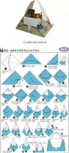 Origami Basket - diagrams (in Chinese) (DIY Basket ) Box Origami, Cute Origami, Origami And Kirigami, Origami Fish, Origami Paper Art, Diy Paper, Paper Crafts, Oragami, Simple Origami
