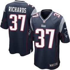 NFL New England Patriots Jordan Richards Mens Game Home Navy Blue #37 Jersey