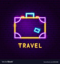 Travel suitcase neon label vector image on VectorStock Neon Wallpaper, Cute Wallpaper Backgrounds, Neon Sign Tumblr, Anatomical Heart Drawing, Neon Words, Neon Design, Neon Aesthetic, Travel Icon, Instagram Logo