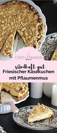 Super leckerer Friesischer Käsekuchen mit Pflaumenmus und Streuseln. Das einfache Rezept für den köstlichen Käsekuchen gibt es auf Castlemaker.de Pie, Super, Desserts, Food, Quick Cake, Piece Of Cakes, Bakken, Friesian, Plum Jam