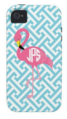 Monogrammed flamingo phone case by kariondesigns on Etsy, $59.95