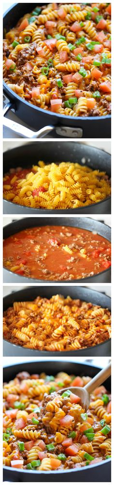 One Pot Cheeseburger Casserole - This cheesy goodness comes together so easily in one skillet. Even the pasta gets cooked right in the pan! Use gluten free pasta for a GF dinner.