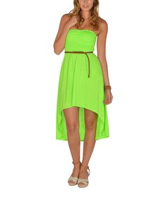 This Lagaci Neon Green Shirred Strapless Hi-Low Dress by Lagaci is perfect! #zulilyfinds