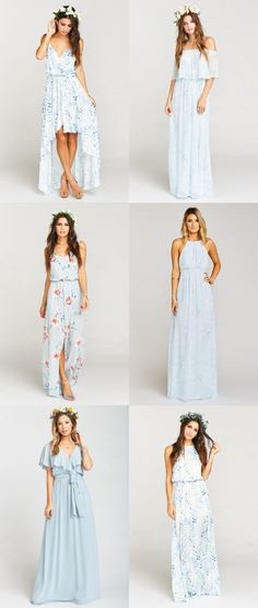 Mismatched Pale Blue Bridesmaid Dresses Well, it's Wednesday, not Monday, but I finally have this week's mismatch ideas for you featuring light blue ...