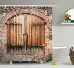 Rustic Shower Curtain by Ambesonne Wooden Door of a Stone House with Wrought Iron Elements Tuscany Architecture Photo Fabric Bathroom Decor Set with Hooks 84 Inches Extra Long Brown Grey >>> Find out more about the great product at the image link. #RusticHomeDecor