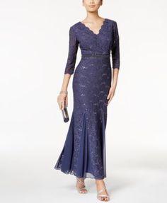 Alex Evenings Petite Embellished Lace Mermaid Gown | macys.com