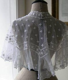 Antique Victorian Tambour Lace Capelet
