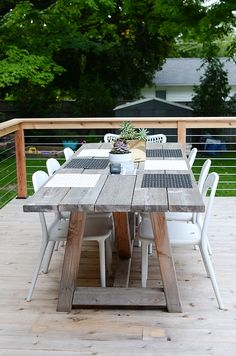 White wash timber outdoor table - but needs more comfortable seats