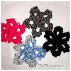 More Snowflakes made today. The colours may not be to everyone's taste but show just how different they can be. Snowflakes, Crochet Necklace, Colours, Crafty, How To Make, Jewelry, Jewlery, Crochet Collar, Bijoux