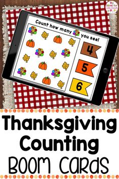 Engage your elementary students with these Thanksgiving math activities all about counting using Boom Cards! Students will use this Interactive math Boom Cards counting game to look at the pictures and use skills like subitizing and one to one correspondence to choose the correct number of Thanksgiving items. This math activity is perfect for PReK, Kindergarten, and First. #math #Thanksgiving #counting