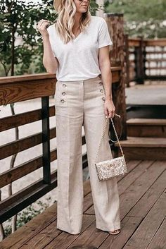 Pockets Casual Loose Wide Leg Pants For Women Straight Leg Pants, Wide Leg Pants, Linen Pants Outfit, Suit Pants, Business Casual Outfits, Business Fashion, Pants For Women, Clothes For Women, Plus Size Casual
