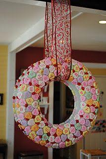 conversation hearts + foam wreath + glue = cute and easy wreath!