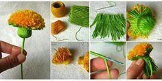 DIY Dandelion Pom Pom other pom pom flower tutorial Pom Pom Flowers, Diy Flowers, Crochet Flowers, Paper Flowers, Pom Pom Crafts, Yarn Crafts, Decor Crafts, Diy Crafts, Pom Pom Tutorial