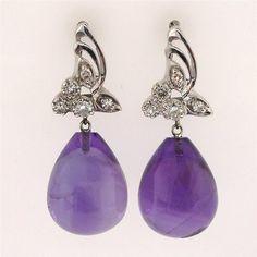 Vintage 1940 22.50ct Amethyst Tear Drop 14k White Gold Dangle Diamond Earrings