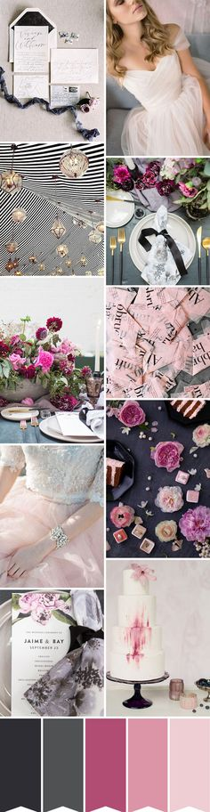 366 best wedding color palettes images on pinterest wedding color chic berry black and blush wedding inspiration junglespirit Gallery