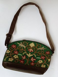 Forest-green Floral Embroidery Bag with Long Straps